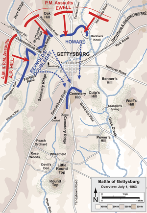 Overview of the first day of the Battle of Get...