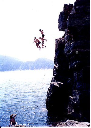 Cliff jumping in Busan, South Korea circa 1993.