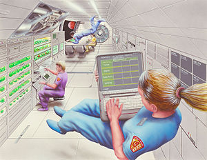 color drawing of weightless astronauts