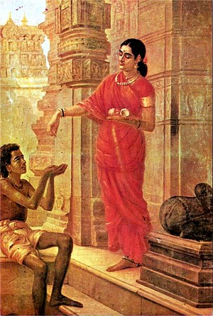 An aristocratic lady coming out from temple an...