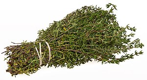 English: A bundle of the herb thyme that came ...