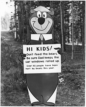 "Yogi Bear with ""don't feed the bears""..."
