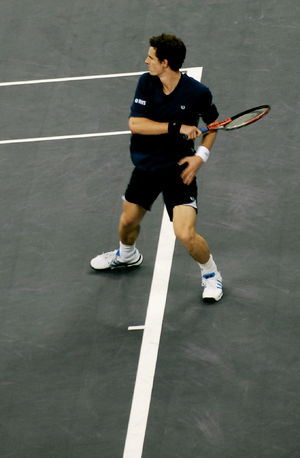 Andy Murray against Roger Federer at the 2008 ...