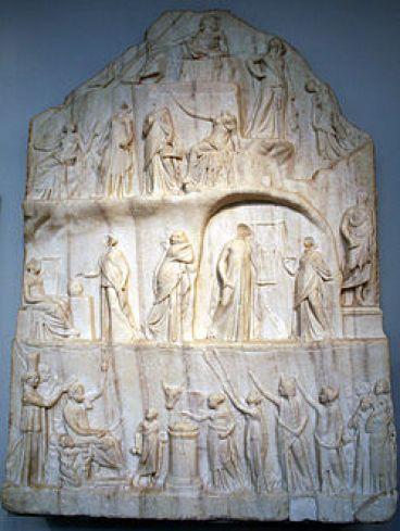 Η Αποθέωση του Ομήρου σε γλυπτό. Μαρμάρινο ανάγλυφο του Αρχίλαου της Πριήνης. 3ος αιώνας π.Χ., Βρετανικό μουσείο