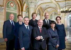Official Swiss Federal Council photo for 2013, the year Maurer was President. Maurer is the fourth person from the right.