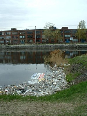 The Lachine Canal in Montreal Canada, is polluted.