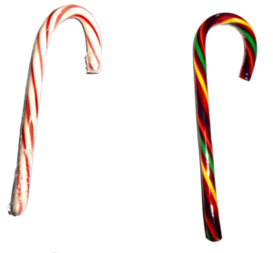 English: Two candy canes, a traditional one (l...