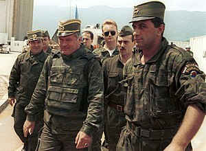 General Ratko Mladic (centre) arrives for UN-m...