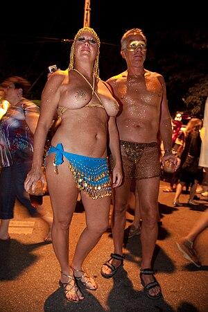 Revelers in skimpy costumes, Fantasy Fest, Key...