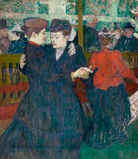 """""""At the Moulin-Rouges, Two Women Walzing"""" by Henri de Toulouse-Lautrec"""