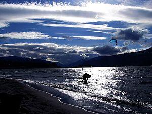 English: Sun set at hood river, Columbia river