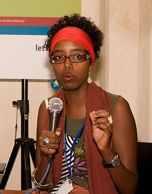 Author Igiaba Scego speaking at Festivalettera...
