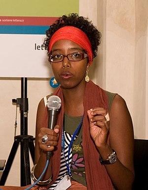 Author Igiaba Scego speaking at Festivalettera...