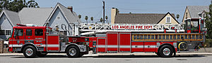 A Los Angeles Fire Department (LAFD) ladder tr...