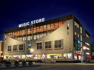 Music Store Building at night