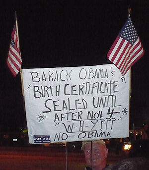 English: Anti-Barack Obama demonstrator at an ...