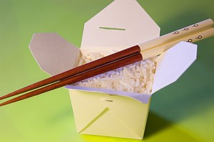 An oyster pail (Chinese takeout container) con...