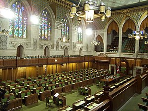 The interior of the House of Commons of Canada...