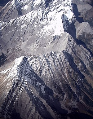 Rocky Mountains with snow stripes