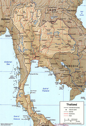 An enlargeable relief map of Thailand