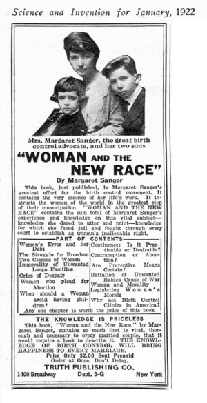 Sanger and her sons in a 1922 advertisement fo...