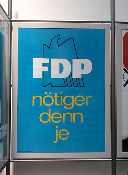 Historisches Wahlkampfplakat der FDP im Haus der Geschichte in Bonn. By Bundesstadt Blues
