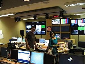 Visiting Al Jazeera studios in London.