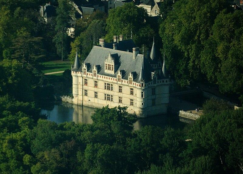 Azay-le-Rideau castle, aerial view