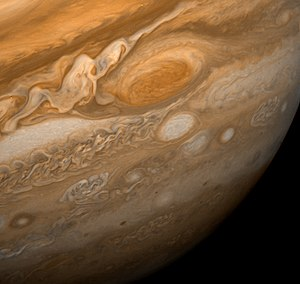 A wider view of Jupiter and the Great Red Spot...
