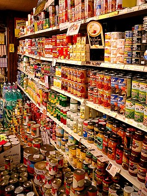 Canned foods, in the grocery store for the non...
