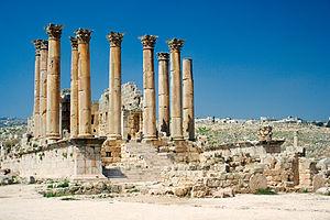 The Roman Temple of Artemis in Jerash, Jordan,...