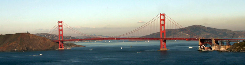 Golden Gate Bridge from the Pacific side, from Lands End, looking into San Francisco Bay. Wikipedia image.