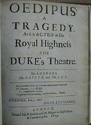 English: Title page of Oedipus: A Tragedy