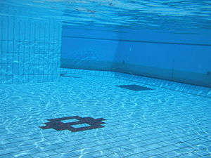 An underwater picture of a swimming pool.