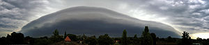 A panorama of a shelf cloud over the City of W...