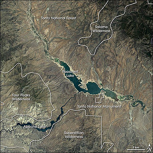 Satellite image of Tonto National Monument and...