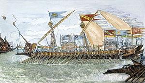 English: A 19th century engraving of a Venetia...