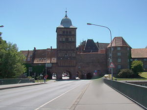 Burgtor Gate in Lubeck, Germany. Originally bu...