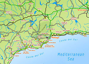 Map of Costa del Sol - cities, towns, resorts,...