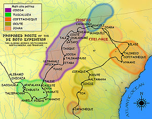 English: A map showing the de Soto expedition ...
