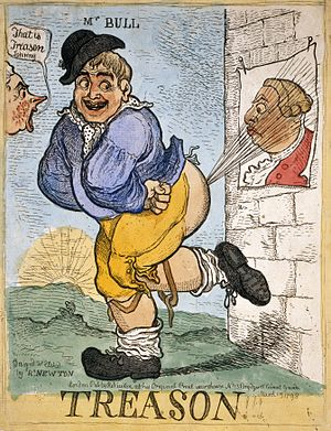English: Treason!!! John Bull emits an explosi...