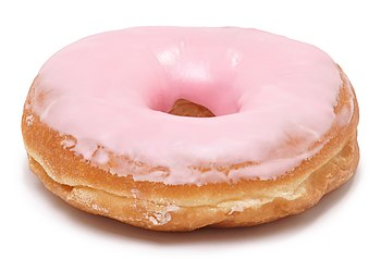 English: A pink, frosted doughnut bought from ...