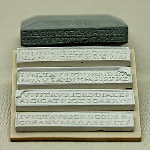 Stamp for marking semi-solid sticks of eye oin...