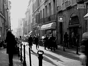 Aix-en-Provence, France. Street at sunset (bla...