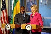Ali Bongo meets United States Secretary of State Hillary Clinton.