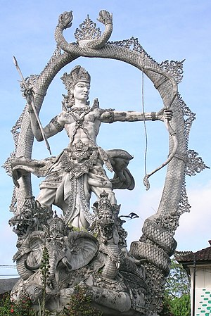 English: Arjuna statue at an intersection just...
