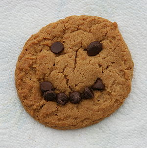 English: Peanut butter cookie with a chocolate...