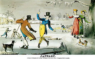 An ice-skating scene, as seen in a print titled