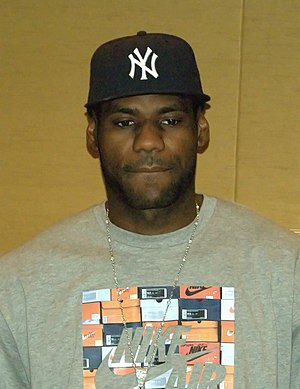 English: LeBron James in New York City to disc...