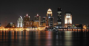 Louisville nighttime skyline, by user Fleur-De...